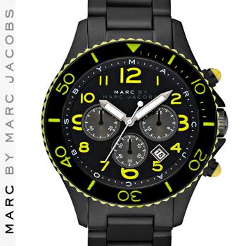 【正規品取扱店】 マーク バイ マーク ジェイコブス 腕時計 ロック クロノグラフ Lサイズ MARC BY MARC JACOBS 'Rock' Large カラー:ブラック
