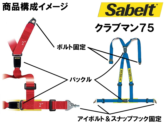 Sabelt (Sabelt) racing harness (4-point seat belts) CLUBMAN75 (Clubman 75) Blue right shoulder pads with
