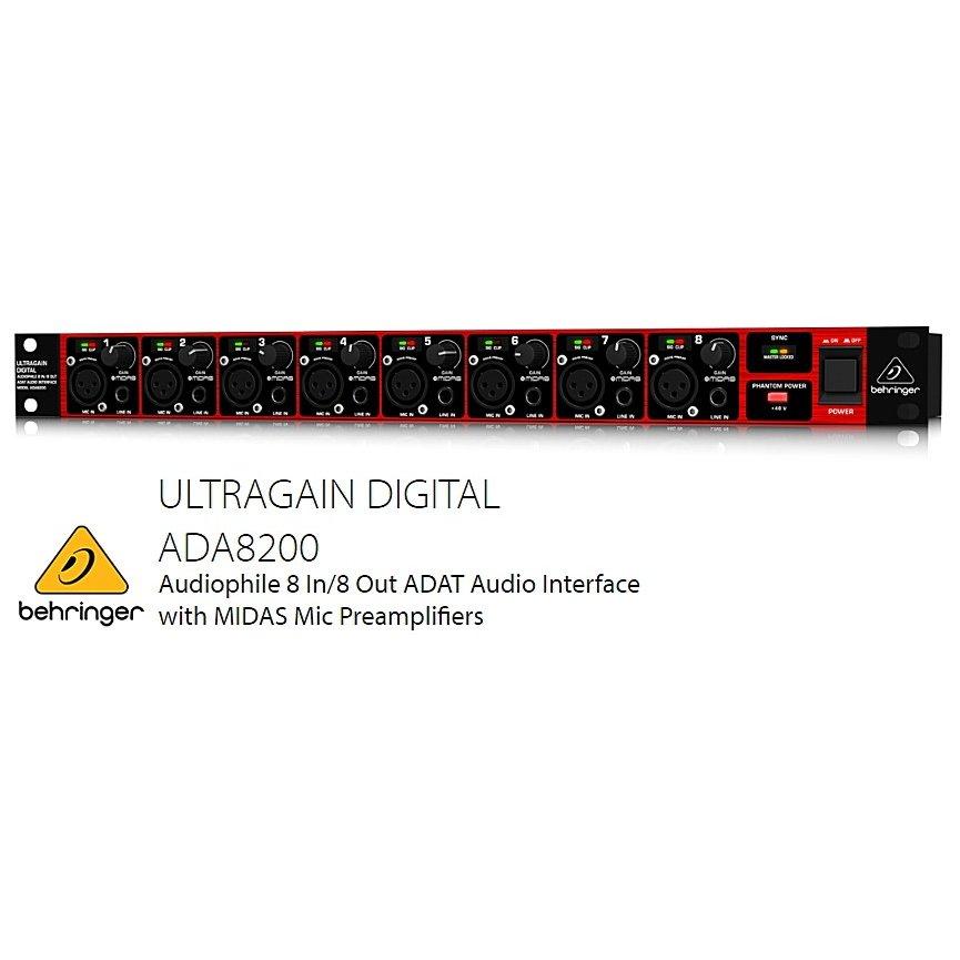 BEHRINGER/べリンガー MIDASマイクプリアンプ搭載 8入力8出力ADATオーディオインターフェース ADA8200 ULTRAGAIN DIGITAL
