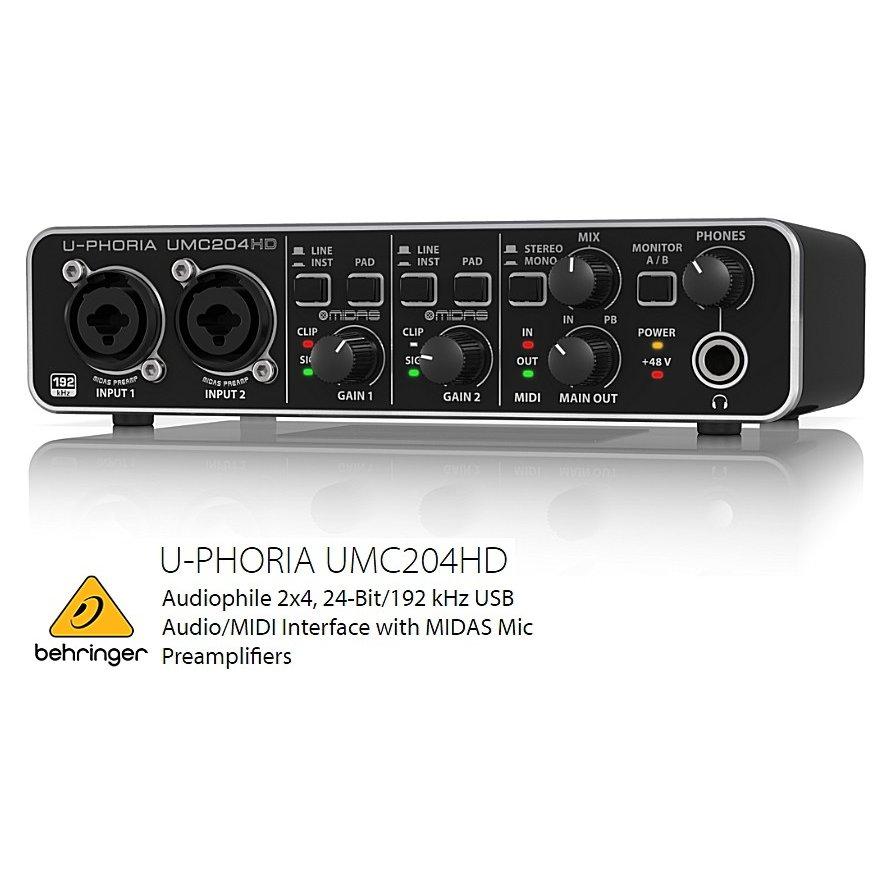 BEHRINGER/べリンガー MIDASマイクプリアンプ搭載2入力4出力 USBオーディオインターフェース UMC204HD U-PHORIA