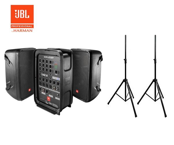 PAセット 誕生日/お祝い 簡易PA 音響セット マイクロホンや各種ケーブルも付属 品質検査済 そして当店オリジナル企画 スピーカー用スタンド付き ポータブルPAシステム JBL 出力:300W スピーカースタンド付きセット EON208P 150W×2