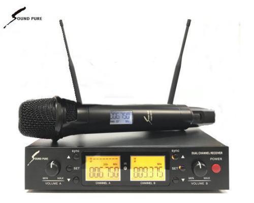 SOUNDPURE/サウンドピュア v8011s ボーカル向けハンドマイク1本/2CH受信機 ワイヤレスマイクセット