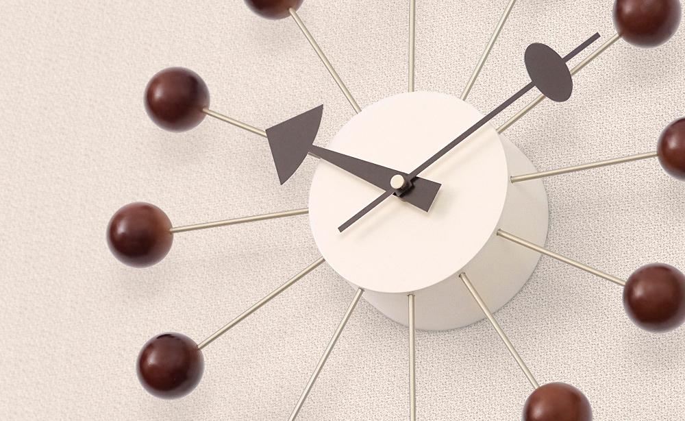 ジョージネルソン ボールクロック メイルオーダー ブラウン ウォールナットカラー 掛け時計 ミッドセンチュリー George ウォールクロック デザイナーズ クロック 壁掛け Nelson インテリア雑貨 評価