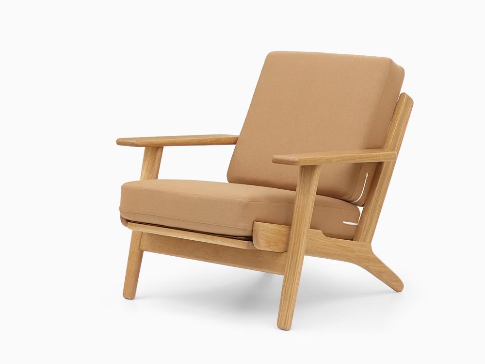 ハンス・J・ウェグナー イージーチェア ベージュ GE290 オーク材 シングルソファ 北欧 一人掛け 木製 無垢材 Hans J Wegner イス 椅子 ジェネリックリプロダクト 1P