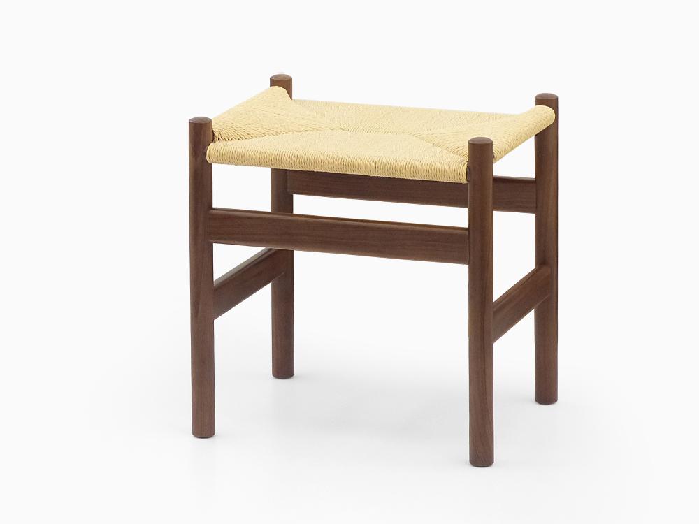 ハンス・J・ウェグナー CH53 スツール ウォールナット材 無垢材 フットスツール 北欧 オーク材 ダイニングチェア 木製 Hans J Wegner イス 椅子 ウッド リプロダクト ペーパーコードスツール ブラウン