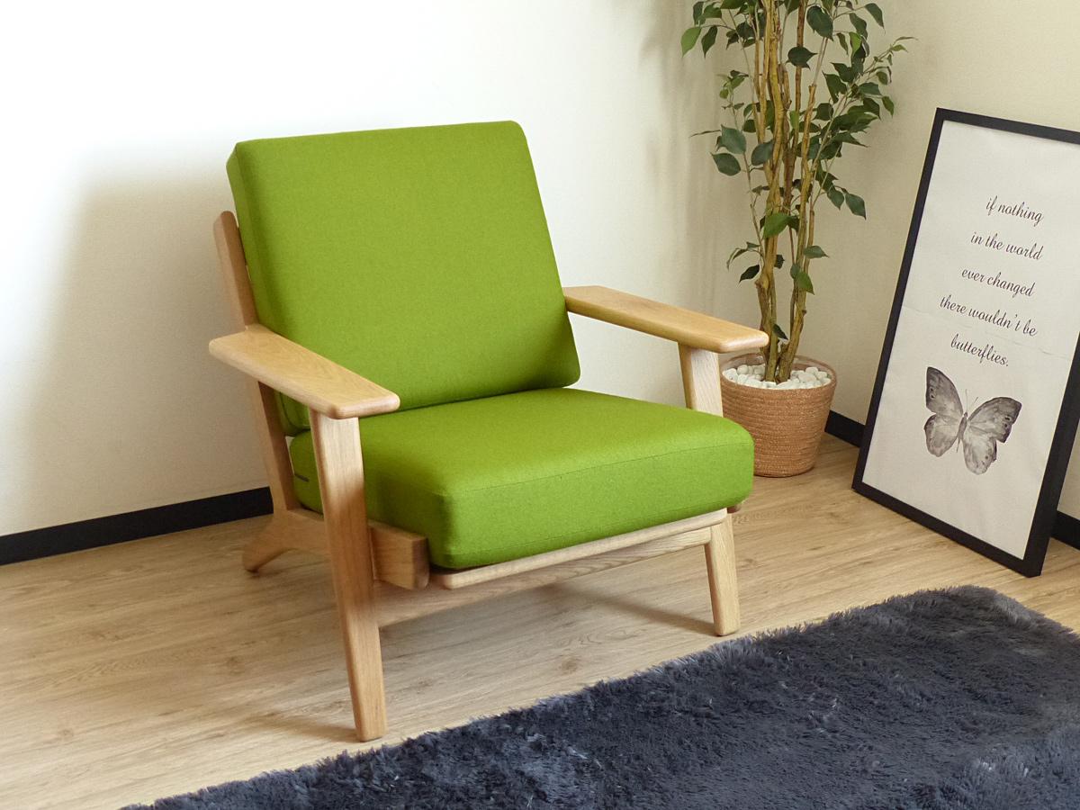 ハンス・J・ウェグナー イージーチェア グリーン GE290 オーク材 シングルソファ 北欧 一人掛け 木製 無垢材 Hans J Wegner イス 椅子 ジェネリックリプロダクト 1P