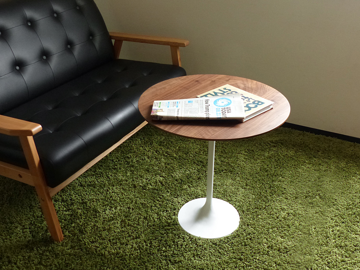 チューリップサイドテーブル ウォールナット×ホワイト チューリップテーブル エーロ・サーリネン Tulip Side Table デザイナーズ リプロダクトダイニング 寝室 ソファ テーブル