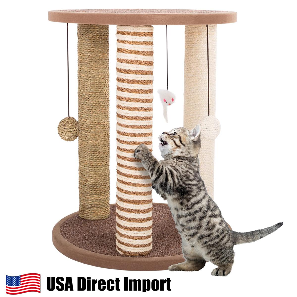 期間限定送料無料 アメリカ直輸入 Tan and Cream 3 Pole Cat Scratching Post with Perch 猫用品 猫 PETMAKER ねこじゃらし 遊具 おもちゃ ペット用品 コンパクト キャットタワー 割引 スクラッチ 爪とぎ