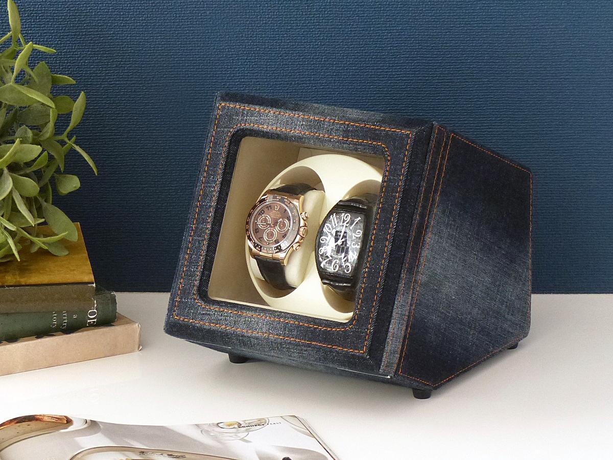 Abies カペラ ワインディングマシーン 2本巻 デニム×アイボリー ネイビー 天然木使用 2連 ウォッチワインダー 腕時計 自動巻き ワインディングマシン ウォッチケース 収納ケース メンズ レディース 時計ケース ギフト プレゼント