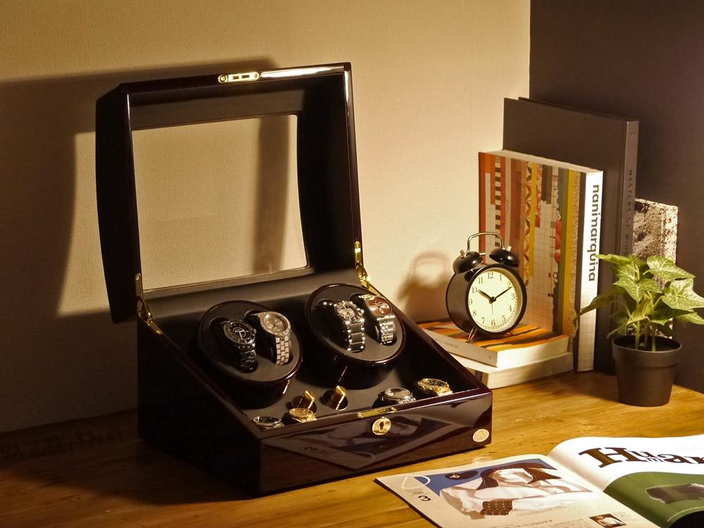 ワインディングマシーン 4本巻 ゼブラウッド × ブラック Abies(アビエス) 4連 腕時計 ワインディングマシン 自動巻き ウォッチケース 2本 4本 時計 収納ケース メンズ レディース 時計ケース ワインダー ウォッチスタンド プレゼント 父の日
