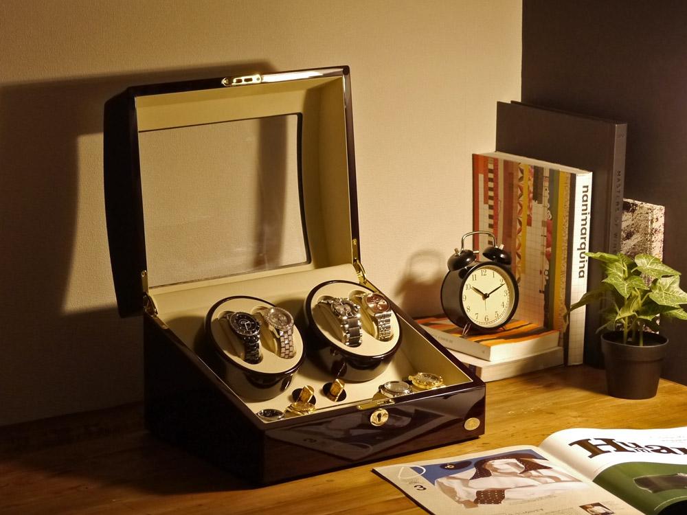 ワインディングマシーン 4本巻 ゼブラウッド Abies(アビエス) ワインディングマシン 4連 収納ケース メンズ レディース 自動巻き機 腕時計 自動巻き ウォッチケース 時計ケース ワインダー クリスマス ギフト ウォッチスタンド プレゼント
