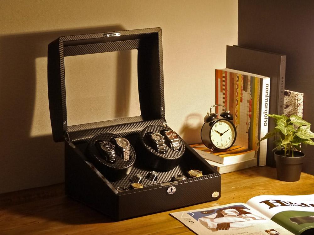 ワインディングマシーン 4本巻 カーボン調 Abies(アビエス) ワインダー ウォッチワインダー 4連 ワインディングマシン 腕時計 自動巻き ウォッチケース 時計ケース ギフト 2本 4本 時計 収納ケース メンズ レディース ケース