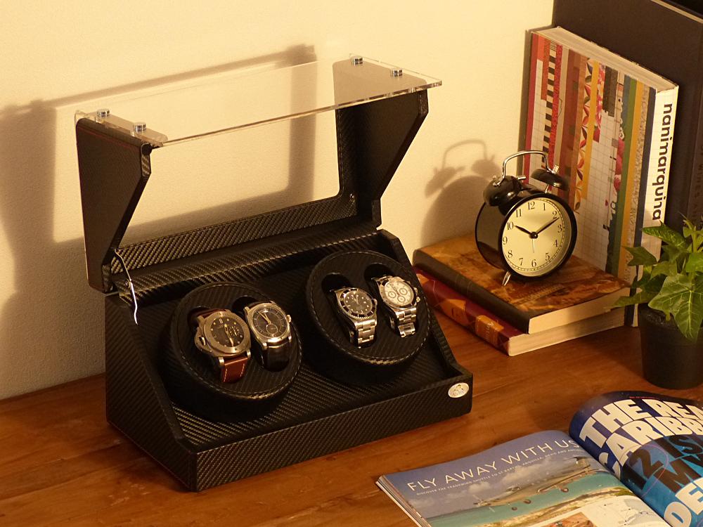 ワインディングマシーン 4本巻 カーボン調 WB Abies(アビエス) ワインダー ウォッチワインダー 4連 ワインディングマシン 時計 メンズ レディース 腕時計 自動巻き ウォッチケース 時計ケース コレクションケース ギフト プレゼント 父の日