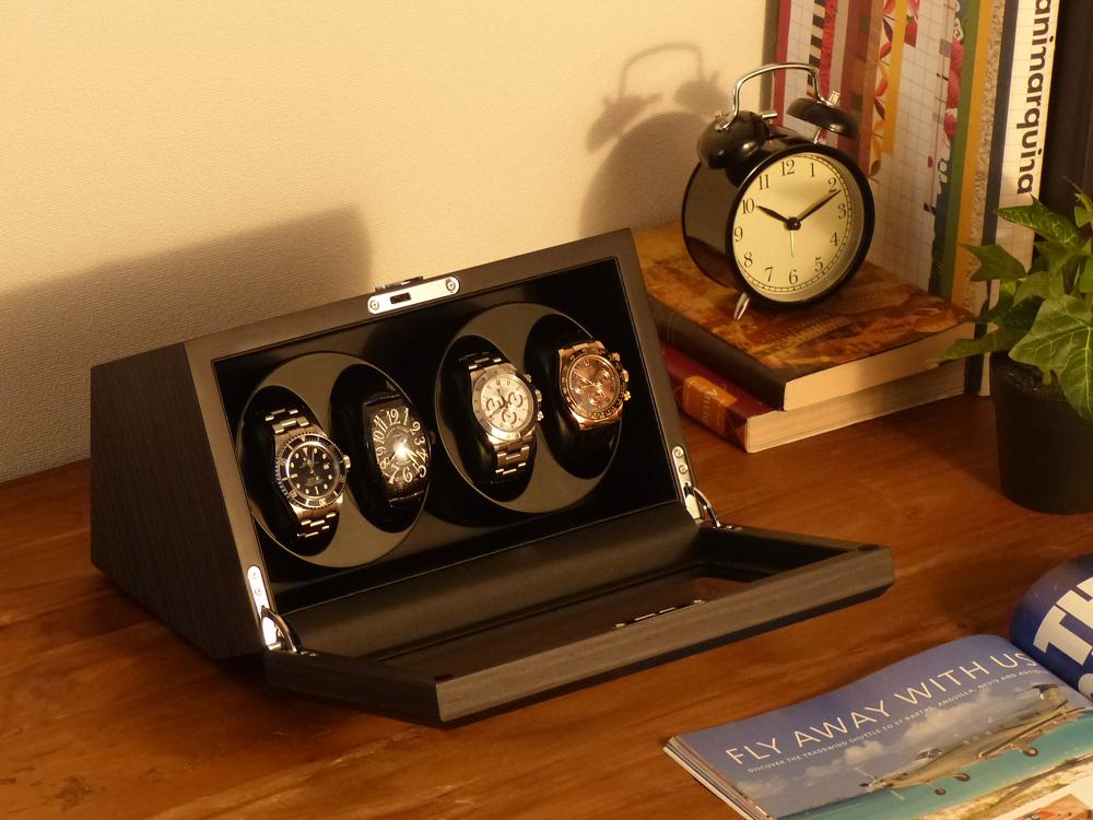 Abies カペラ ワインディングマシーン 4本巻 エボニー × ブラック 天然木使用 黒檀 4連 ウォッチワインダー 腕時計 自動巻き ワインディングマシン ウォッチケース 収納ケース メンズ レディース 自動巻き機 時計ケース ギフト