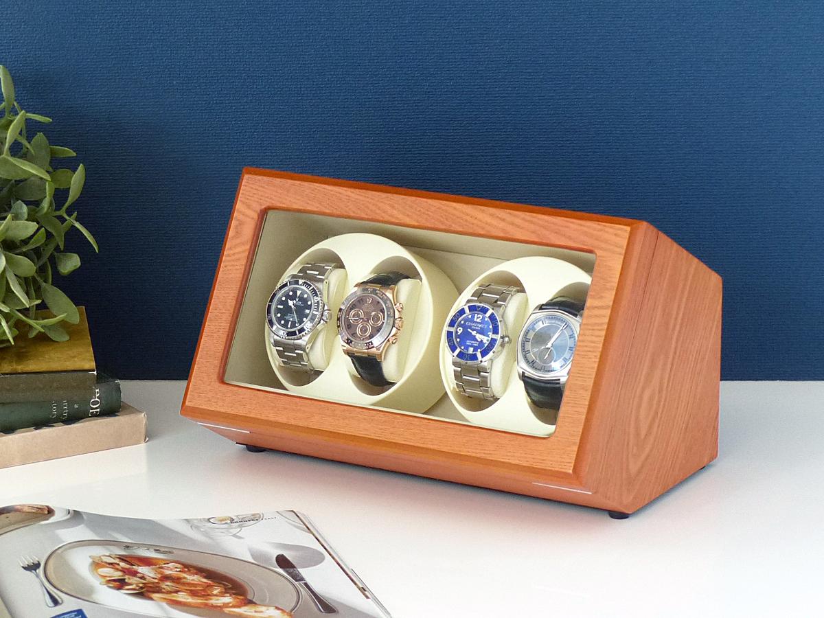 Abies カペラ ワインディングマシーン 4本巻 アッシュ × アイボリー 天然木使用 4連 ウォッチワインダー 腕時計 自動巻き ワインディングマシン ウォッチケース 収納ケース メンズ レディース 自動巻き機 時計ケース ギフト