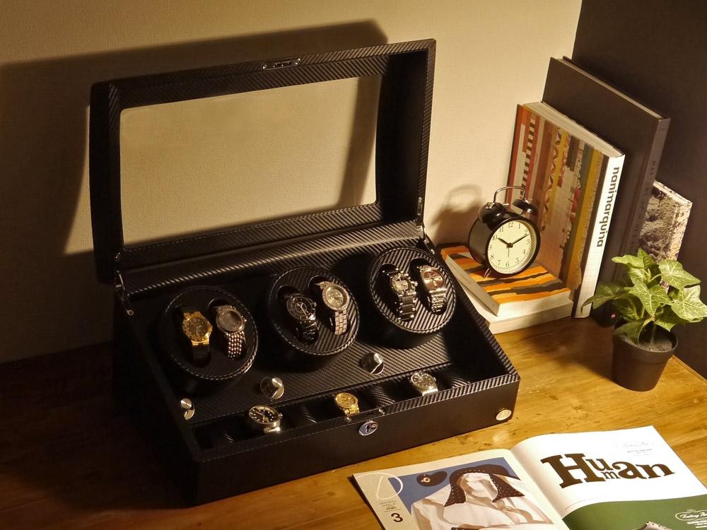 ワインディングマシーン 6本巻 カーボン調 Abies(アビエス) 6連 腕時計 ワインディングマシン 自動巻き ウォッチケース 時計ケース ワインダー ギフト ウォッチスタンド 2本 4本 時計 収納ケース メンズ レディース プレゼント