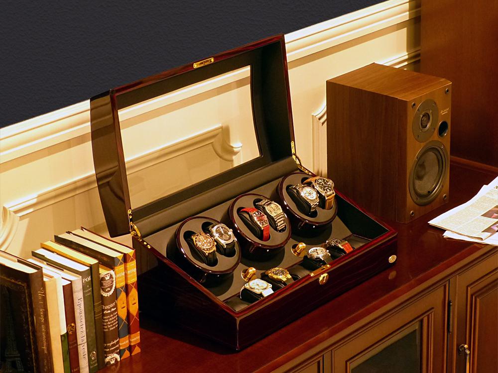 ワインディングマシーン 6本巻 ゼブラウッド × ブラック Abies(アビエス) ワインディングマシン 6連 腕時計 自動巻き ウォッチケース 時計ケース ウォッチ ワインダー 時計 収納ケース メンズ レディース ケース 自動巻き機 プレゼント 父の日