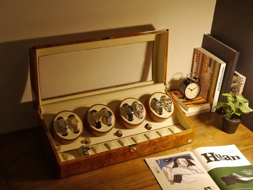 ワインディングマシーン 8本巻 ライトブラウン Abies(アビエス) ワインディングマシン 8連 腕時計 自動巻き ウォッチケース 収納ケース メンズ レディース ケース 自動巻き機 時計ケース ワインダー ウォッチスタンド プレゼント