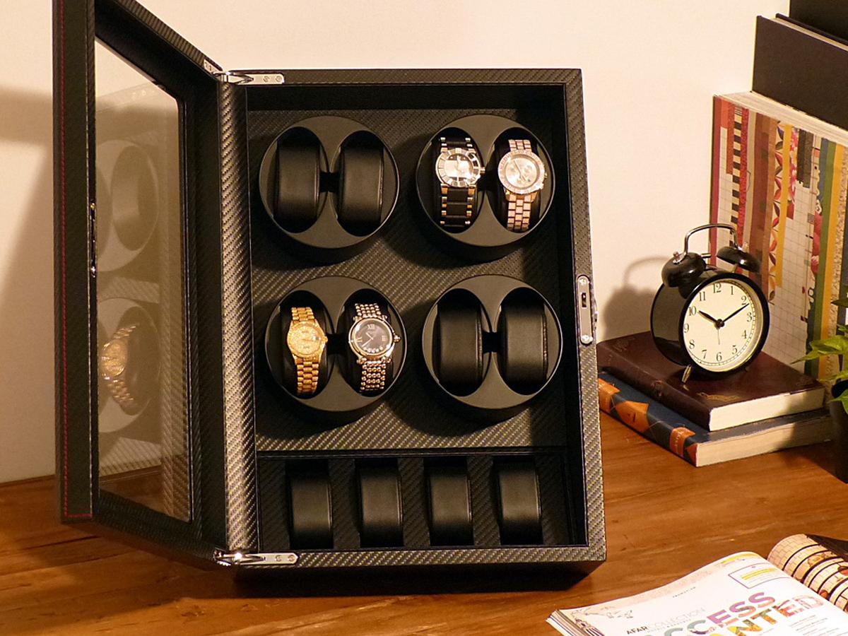 ワインディングマシーン 8本巻 縦型 カーボン調 Abies(アビエス) 8連 腕時計 ワインディングマシン 自動巻き ウォッチケース 時計 収納ケース メンズ レディース ケース 自動巻き機 時計ケース ギフト ディスプレイ プレゼント