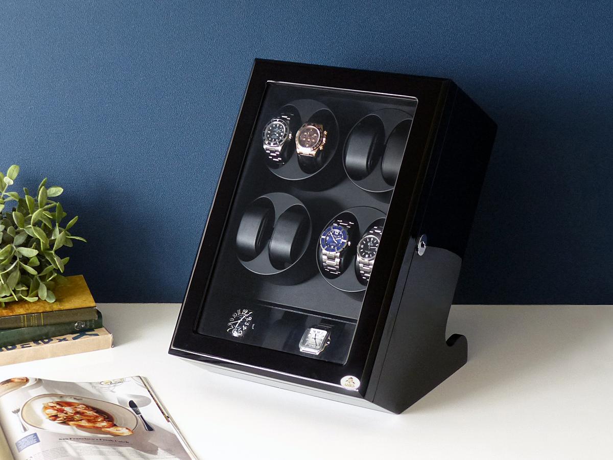 ワインディングマシーン 8本巻 縦型 ブラック × ブラック Abies(アビエス) 8連 腕時計 ワインディングマシン 自動巻き ウォッチケース 2本 4本 時計 収納ケース メンズ レディース 自動巻き機 時計ケース ギフト ディスプレイ