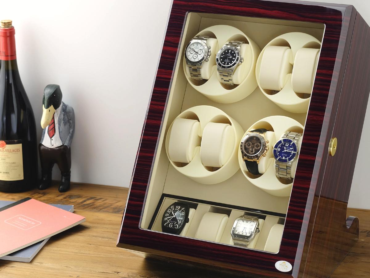 ワインディングマシーン 8本巻 縦型 ゼブラウッド×アイボリー Abies(アビエス) 8連 腕時計 ワインディングマシン 自動巻き ウォッチケース 時計 収納ケース メンズ レディース ケース 自動巻き機 時計ケース ギフト ディスプレイ