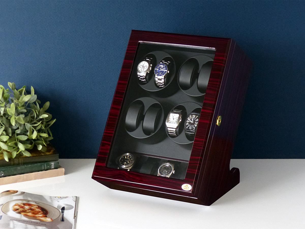 ワインディングマシーン 8本巻 縦型 ゼブラウッド×ブラック Abies(アビエス) 8連 腕時計 ワインディングマシン 自動巻き ウォッチケース 時計 収納ケース メンズ レディース ケース 自動巻き機 時計ケース ギフト ディスプレイ