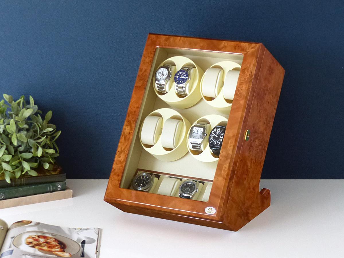 ワインディングマシーン 8本巻 縦型 ライトブラウン×アイボリー Abies(アビエス) 8連 腕時計 ワインディングマシン 自動巻き ウォッチケース 時計 収納ケース メンズ レディース ケース 自動巻き機 時計ケース ギフト ディスプレイ