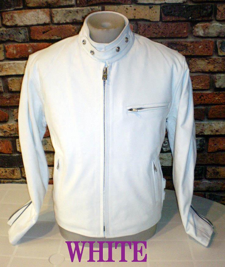 本革レザーライダース シングルCOW-SKIN 白WHITE-Mサイズ