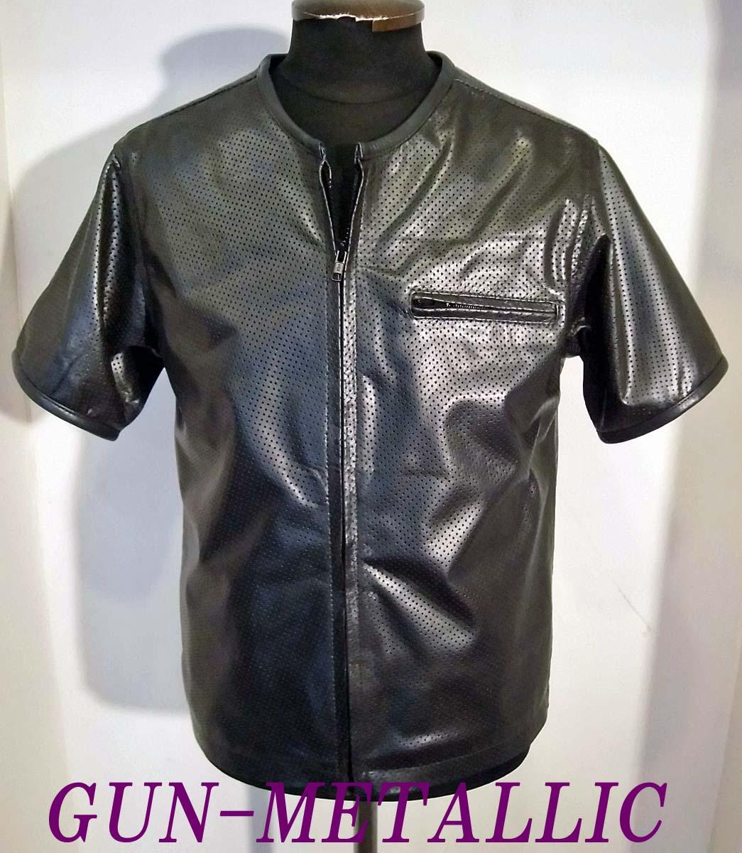 ライダース本革パンチングレザー半袖ZIPP-UPシャツBIGサイズ GUNMETALLIC-4Lサイズ