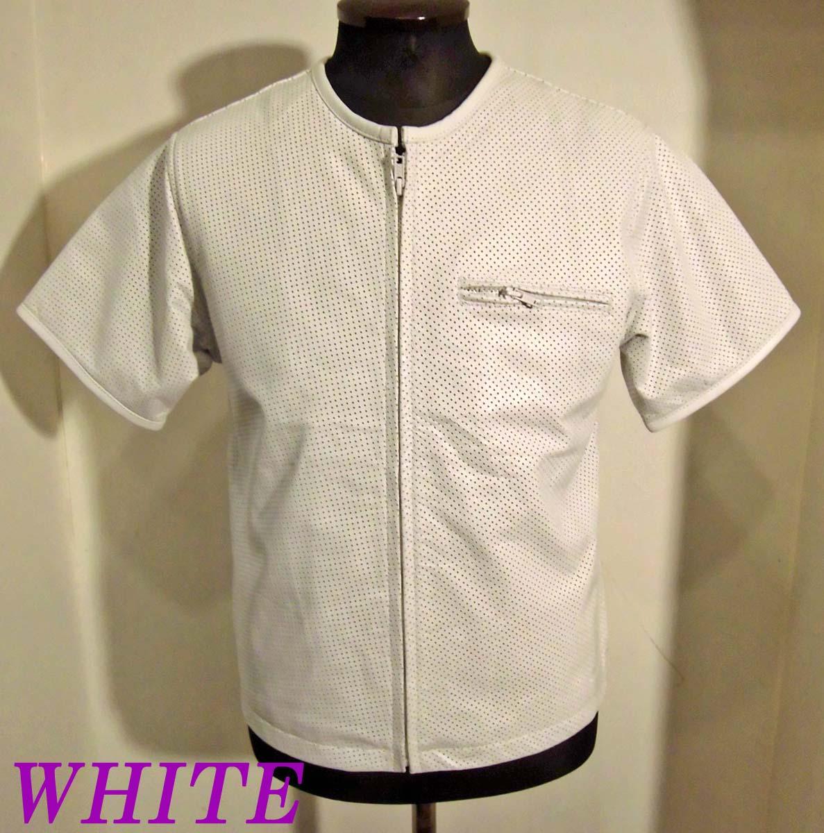 ライダース本革パンチングレザー半袖ZIPP-UPシャツ WHITE-3Lサイズ