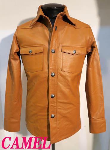 レザーシャツ牛革ウエスタンシャツ本革ユリ型ドット釦 CAMELキャメル