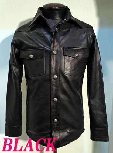 レザーシャツ牛革ウエスタンシャツ本革ユリ型ドット釦 黒ブラック
