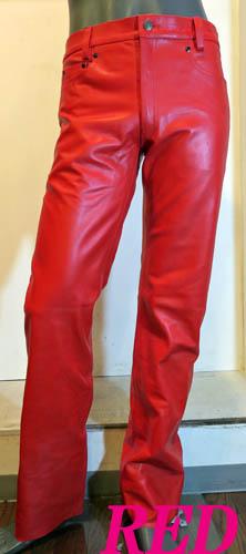 真っ赤な皮パン本革レザーパンツ 前後各一枚皮使用 ストレート 赤レッド