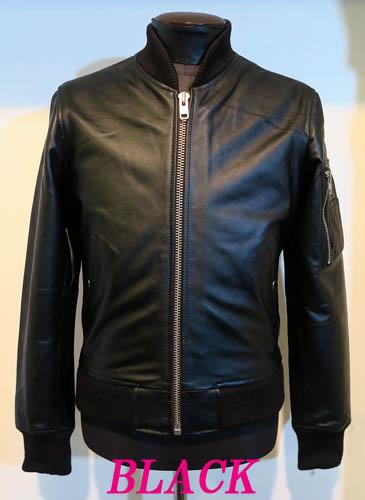 本革MA-1 フライトジャケット 革ジャン レザーブルゾン 牛革 黒ブラック
