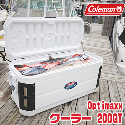 【在庫有り】コールマン Optimaxx クーラー / 200QT【容量約190L】クーラーボックス バーベキュー 保冷 大容量 大型 アウトドア キャンプ 釣り UVガード加工 抗菌加工 Coleman 200-Quart Optimaxx Cooler