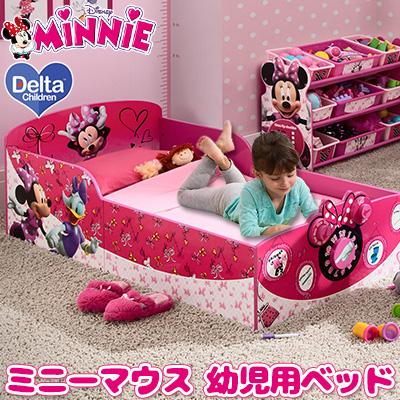 デルタ チルドレン インタラクティブ ウッド トドラーベッド 《ミニー》 ディズニー ミニーマウス 木製 幼児用ベッド キッズ 子供用 幼児用 ベッド 子供用家具 子供部屋 女の子 BB86930MN Delta Children Interactive Wood Toddler Bed, Minnie