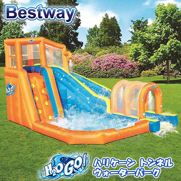 【大型遊具】ベストウェイ H2O GO! ハリケーン トンネル ブラスト インフレータブル ウォーターパーク クライミングウォール スライダー 滑り台 すべり台 子供用 家庭用 庭 Bestway H2OGO! Hurricane Tunnel Blast Inflatable Water Park