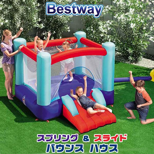 【在庫有り】【大型遊具】ベストウェイ スプリング アンド スライド パーク バウンス ハウス トランポリン エアー遊具 ふわふわ遊具 スライダー 滑り台 すべり台 子供用 家庭用 庭 屋外 室外 Bestway Spring 'N Slide Park Bounce House