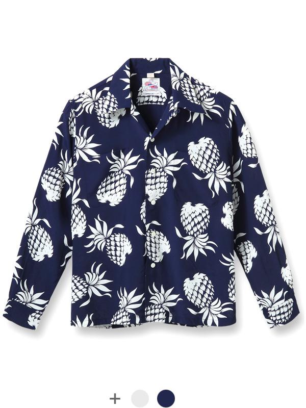 산서후 SUN SURF 듀크・카하나모크 DUKE KAHANAMOKU 화려한 셔츠 긴소매 파인애플 동양 DK26793