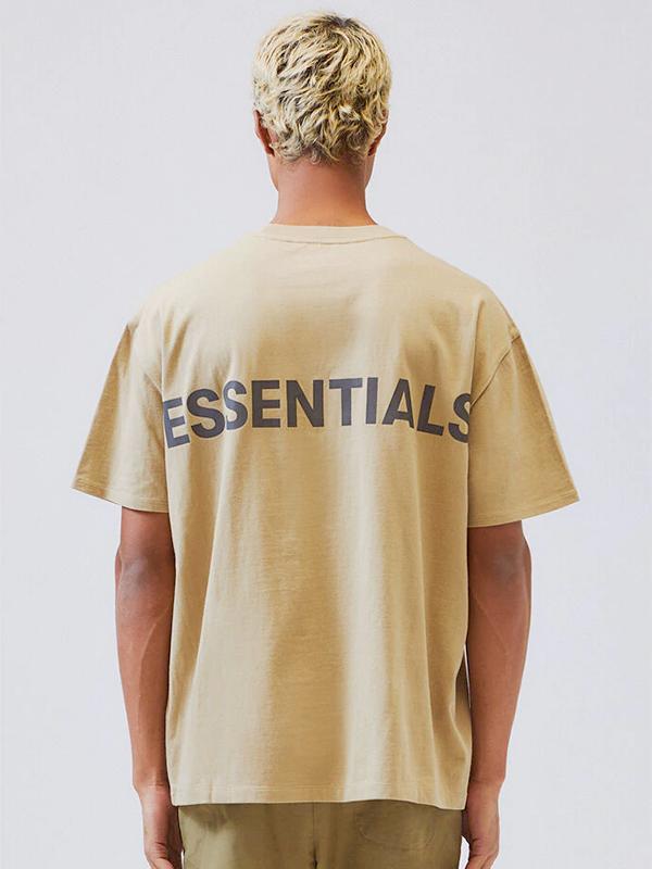 Fear of God essentials Tシャツ メンズ レディース ユニセックス 半袖 FOG ESSENTIALS F.O.G フィア オブ ゴッド フィアオブゴッド エフオージー エッセンシャルズ Boxy REFLECTIVE リフレクター ボクシ― ベージュ REFLECTIVE-SS-BE 夏休み ギフト プレゼント ラッピング