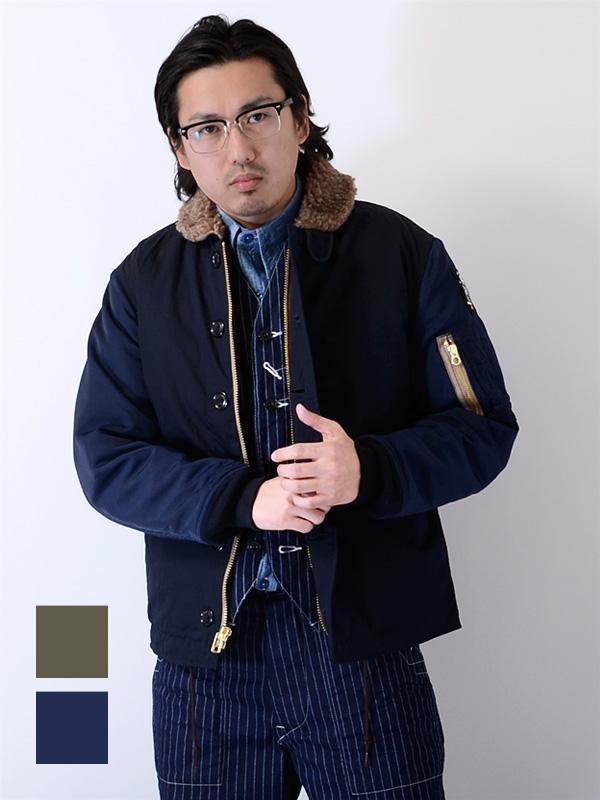 ヒューストン ゴールド HOUSTON GOLD N-1 メンズ レディース ユニセックス 大きいサイズ 中綿 ジャケット アウター 日本製 ミリタリー デッキジャケット 海軍 NAVY 無地 HG005X 夏休み ギフト プレゼント ラッピング