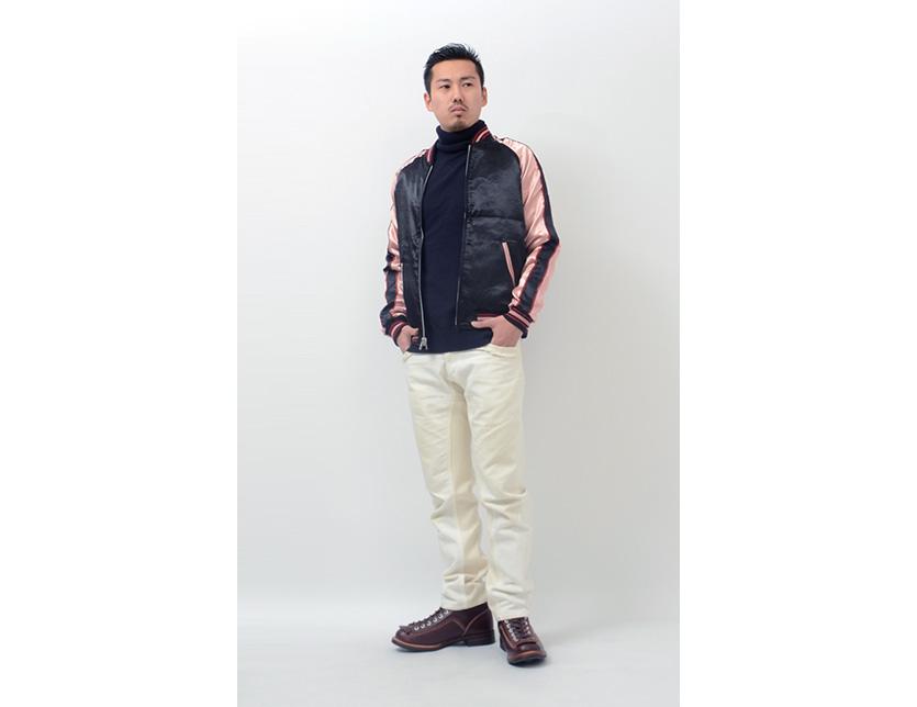 股本日本模式柳光红黑色 popeyed 金鱼可逆绣花的夹克外套 3RSJ-015 书籍出售