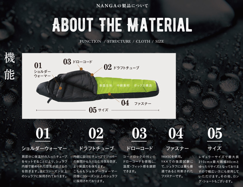 NANGA ナンガシュラフ sleeping bag super water repellency ultra dry down short size outdoor UDD-BAG-180DX-SH