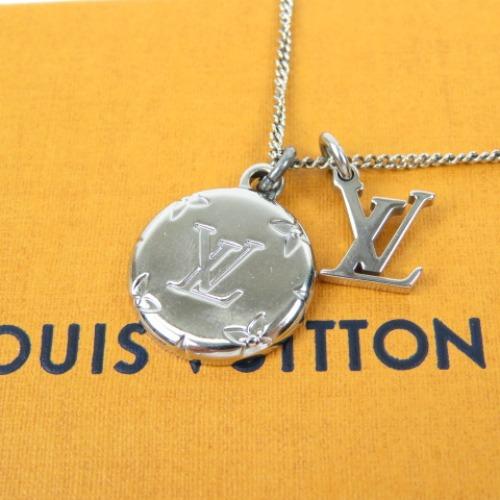 LOUIS 超人気 VUITTON ルイヴィトン ネックレス 送料無料 本物 2020モデル 新品同様美品 レディース モノグラム柄 メンズ シルバー 中古 メタル