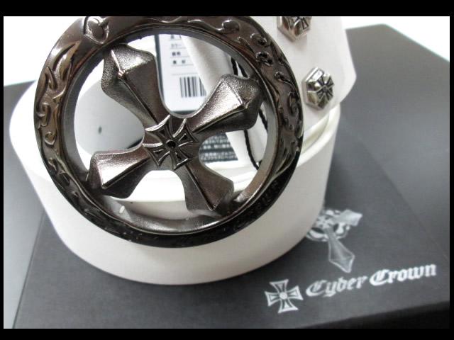 サイバークラウン クロス レザーベルト CBT-001(丸型IP)ホワイト【メンズ】【20本限定生産!】