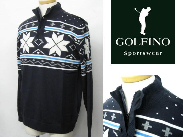 ゴルフィーノ メンズジップアップ極上ウールセーター2510515ダークネイビー58