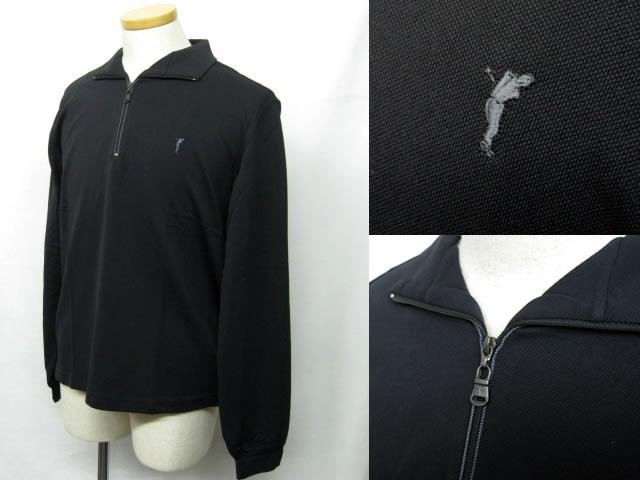 ゴルフィーノ メンズジップアップ長袖ポロ 吸水速乾 1731715 ブラック