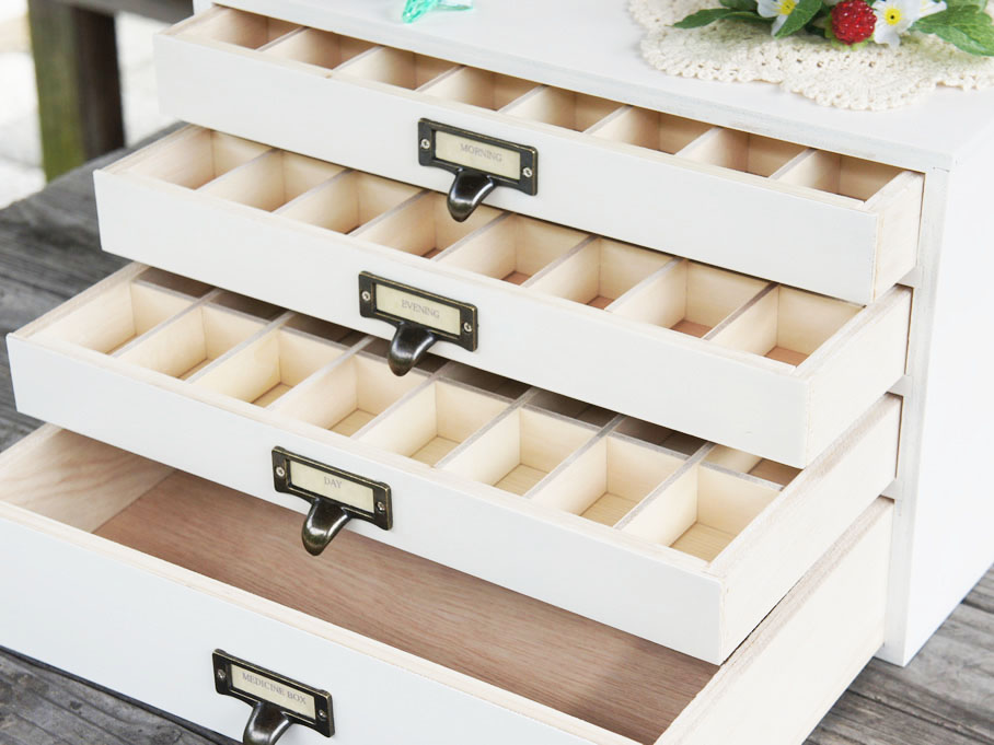 送料無料 白 メディスンボックス 木製救急箱 仕切り付き小物入れ 木製 書類ケース A4対応 横型 ホワイト 引き出し日本製 アンティーク調