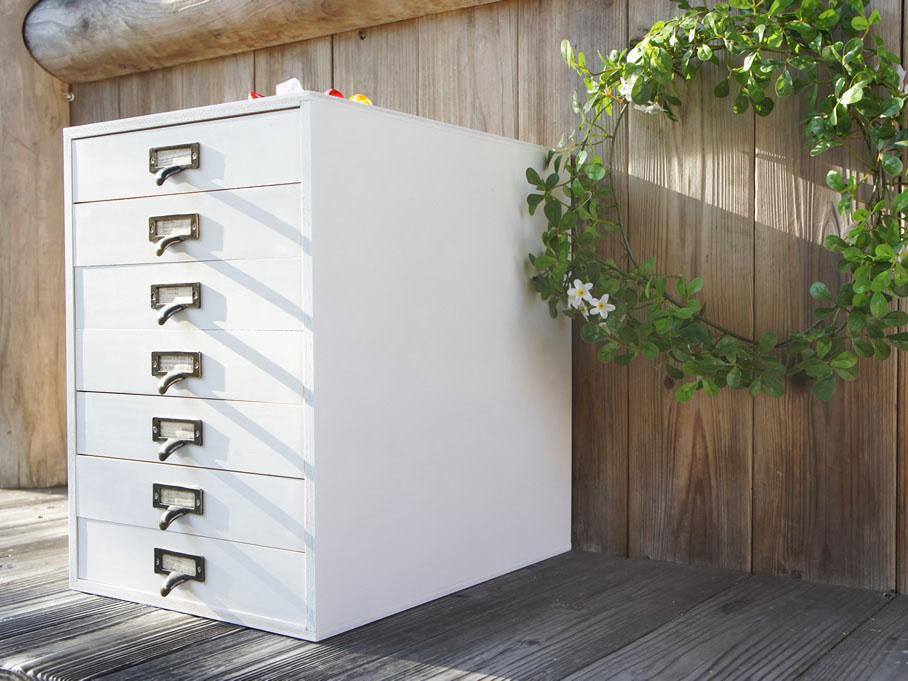 白7段 木製書類ケース A4サイズ収納可能 ホワイト 日本製 大容量 引出し
