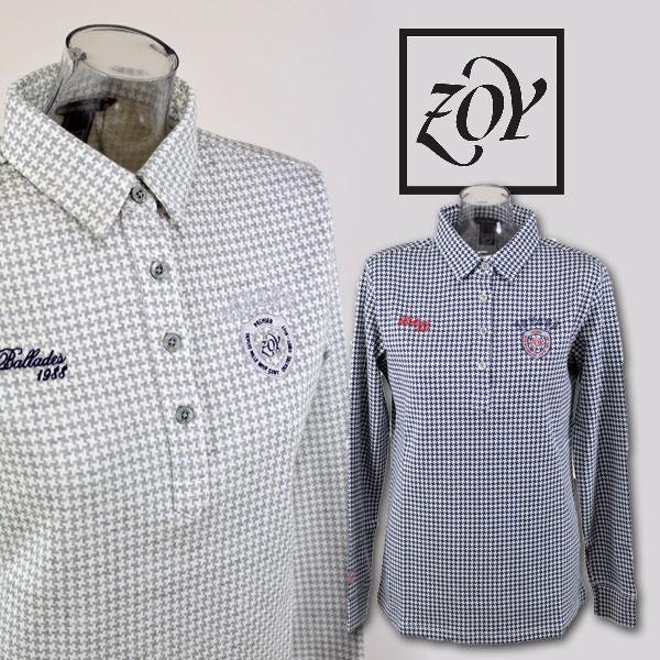 【あす楽 送料無料】【20%OFF】ゾーイ レディース 長袖ポロシャツM L ゴルフウェア ZOY 38009 アウトレット